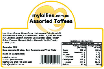 Assorted Toffees Nutrition Information